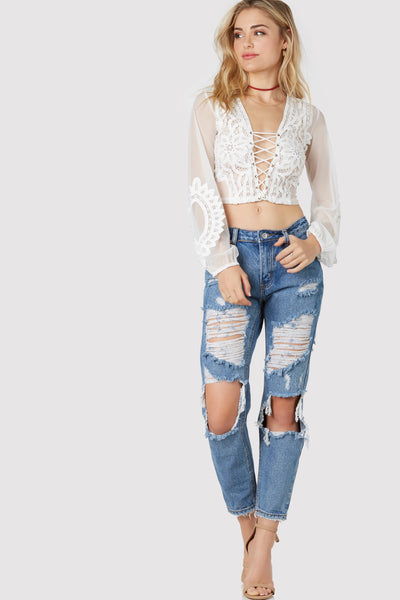 Turn The Cheek Distressed Jeans
