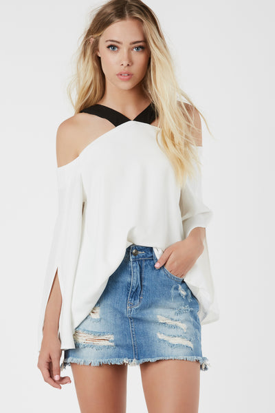 V-Line Cold Shoulder Top
