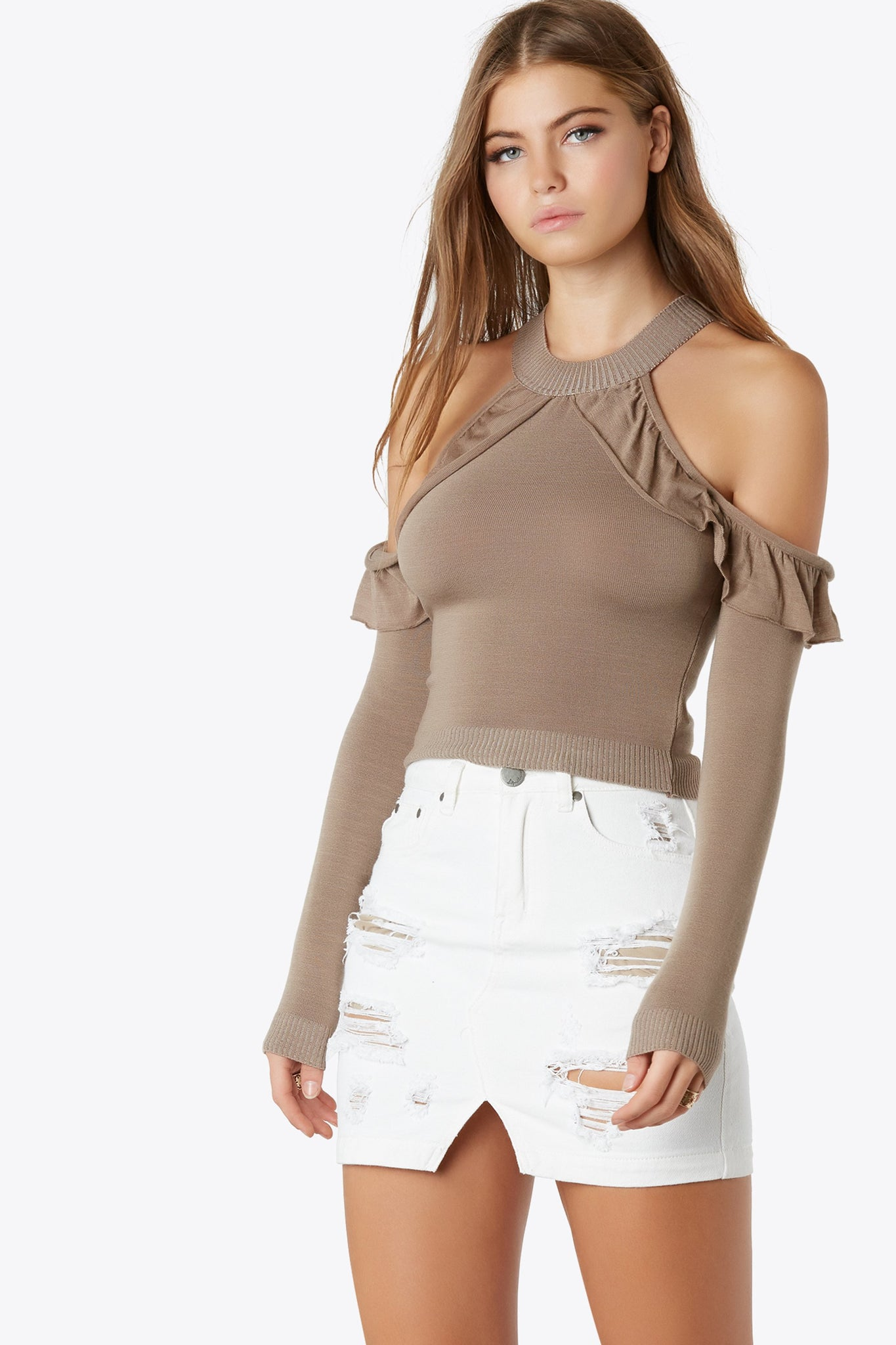 Cold Frills Cut Out Top