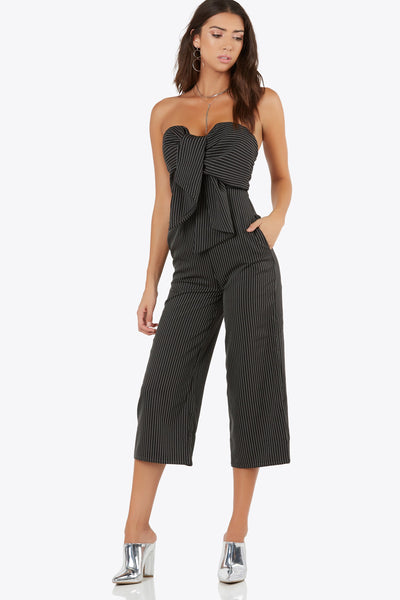 Drop A Pin-Stripe Jumpsuit