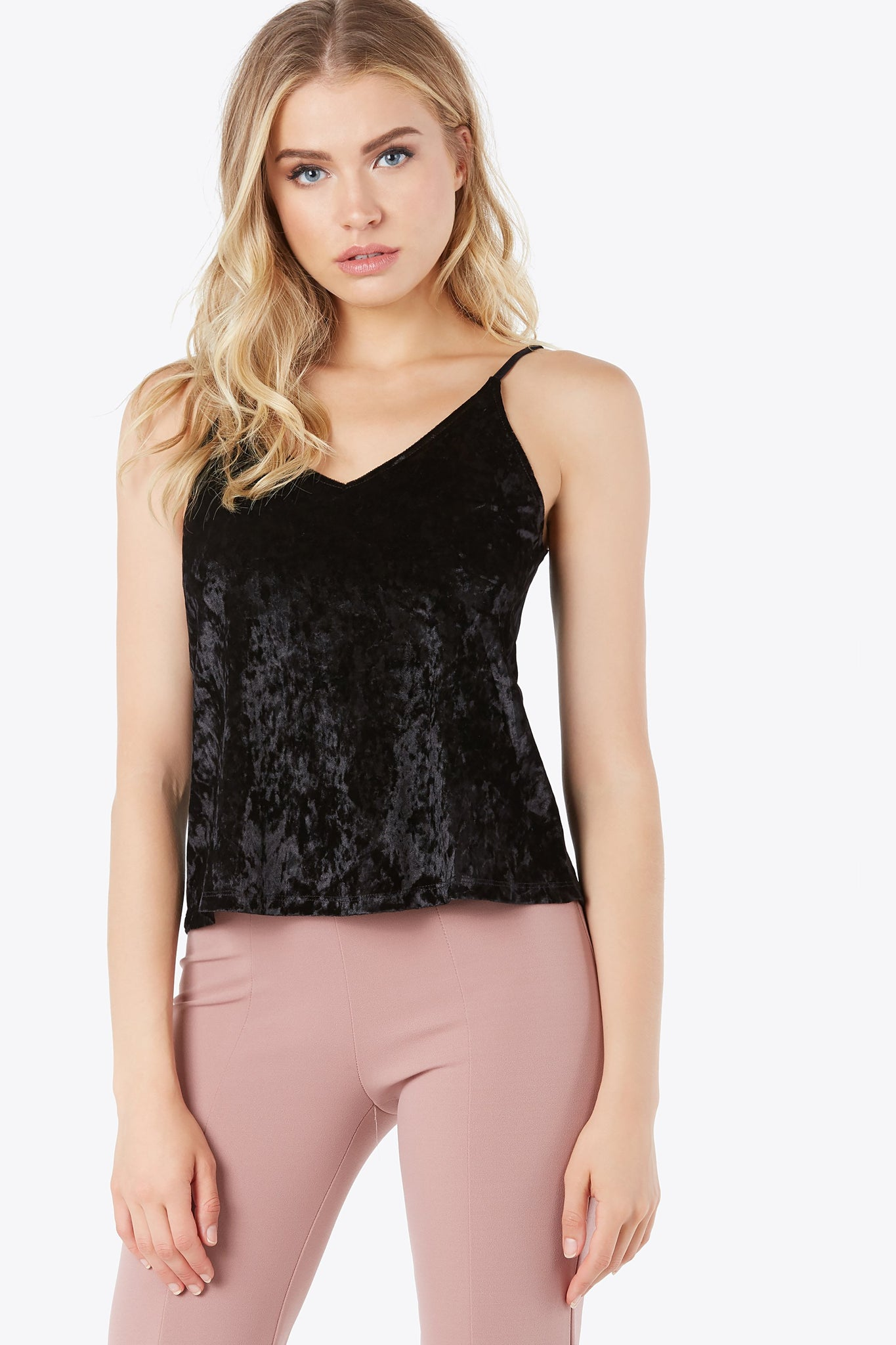 Crushed velvet cami top. Strap accent across chest.