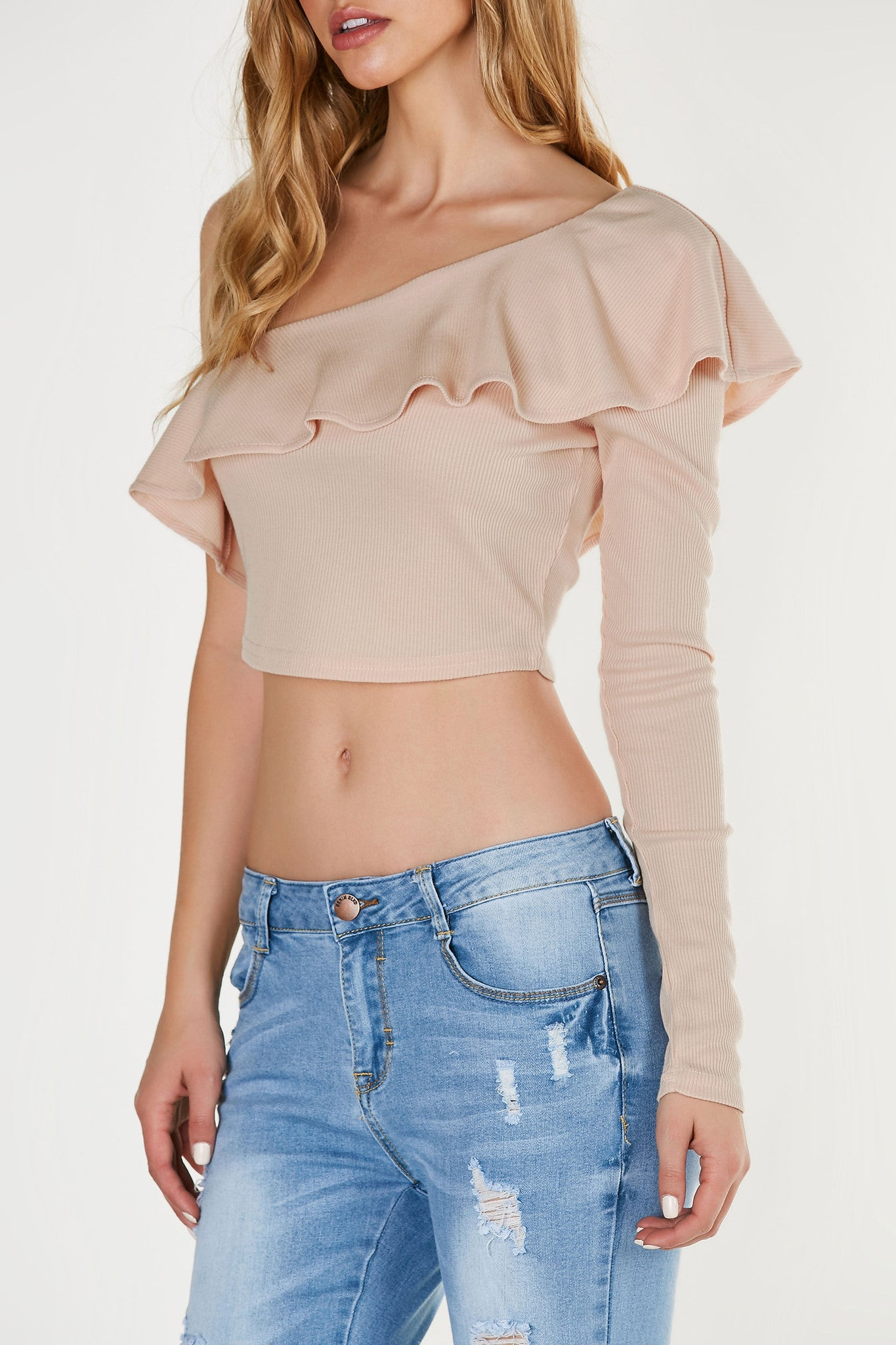 Flirty ribbed one shoulder top with bold ruffle tier. Cropped hem with slim fit all around.