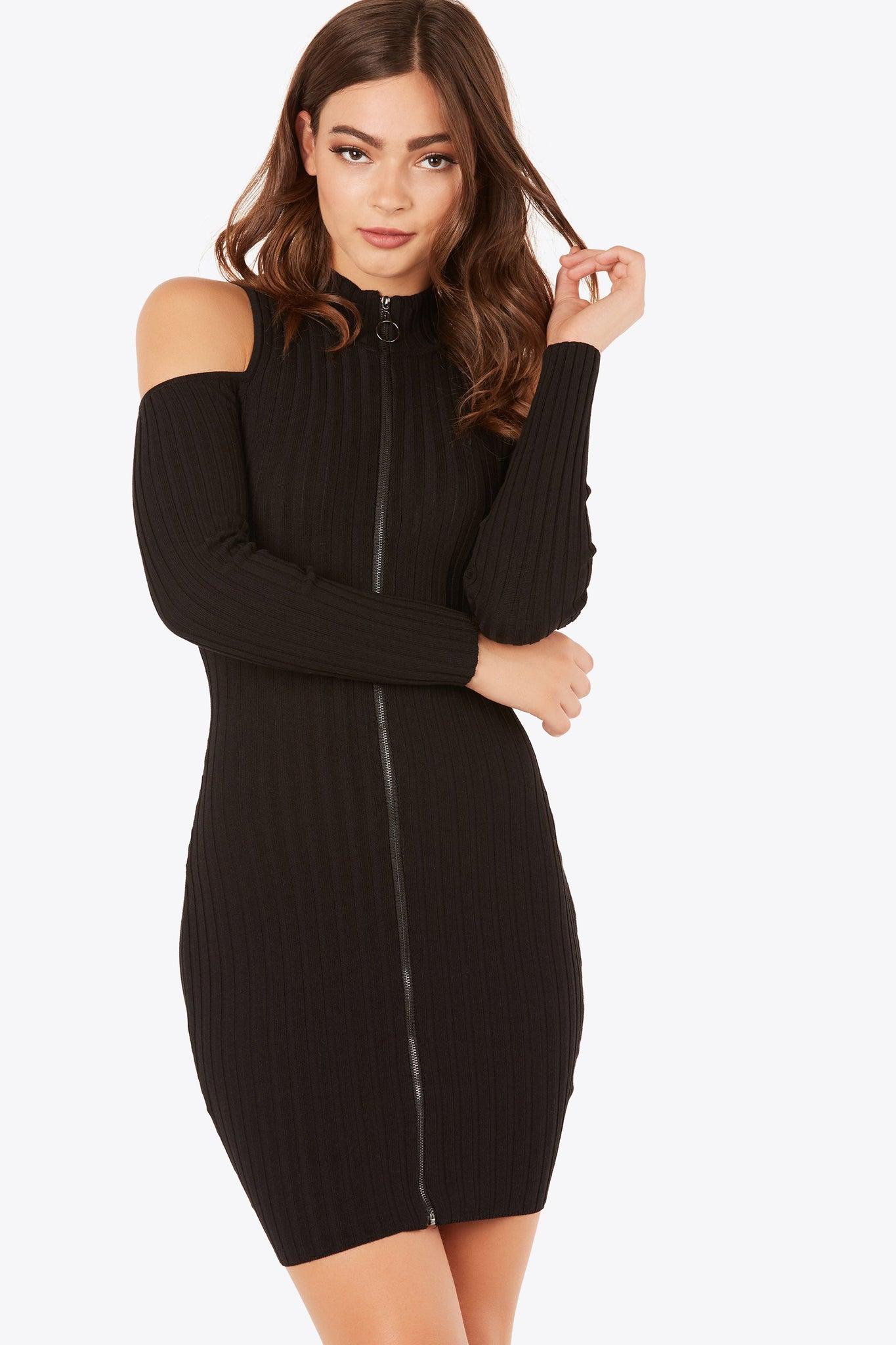 Stretchy ribbed cold shoulder dress with mock neckline. Long sleeves with front zip design.