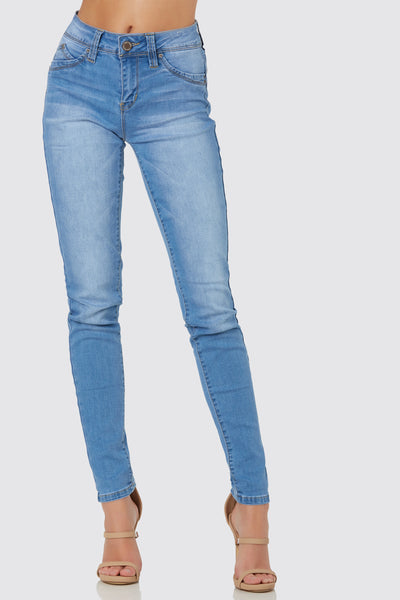 Basic mid rise skinny jeans with stretchy fit. 5 pocket design with heart shaped seam in back to flatter the bum.
