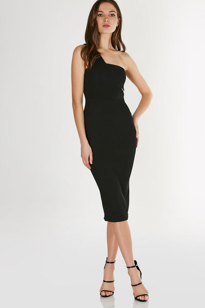 Chic one shoulder midi dress with cut out on once side. Ribbed material with bodycon fit and straight hem finish.