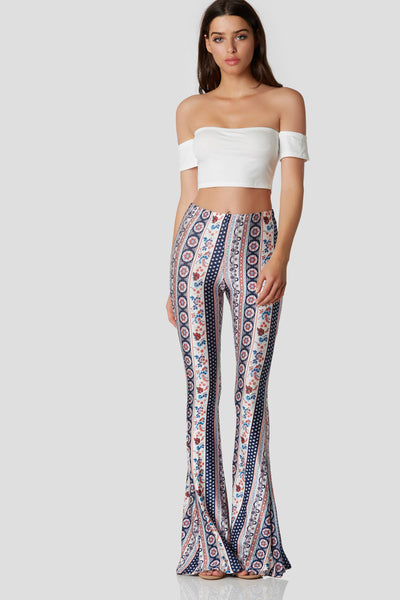 Comfortable pair of bell bottoms with detailed floral patterns throughout. Amazing stretch with elasticized waistband.