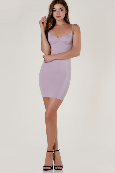 Sexy sleeveless bodycon dress made of smooth, stretchy material. Slightly padded bustier design at top with exposed back zip closure.
