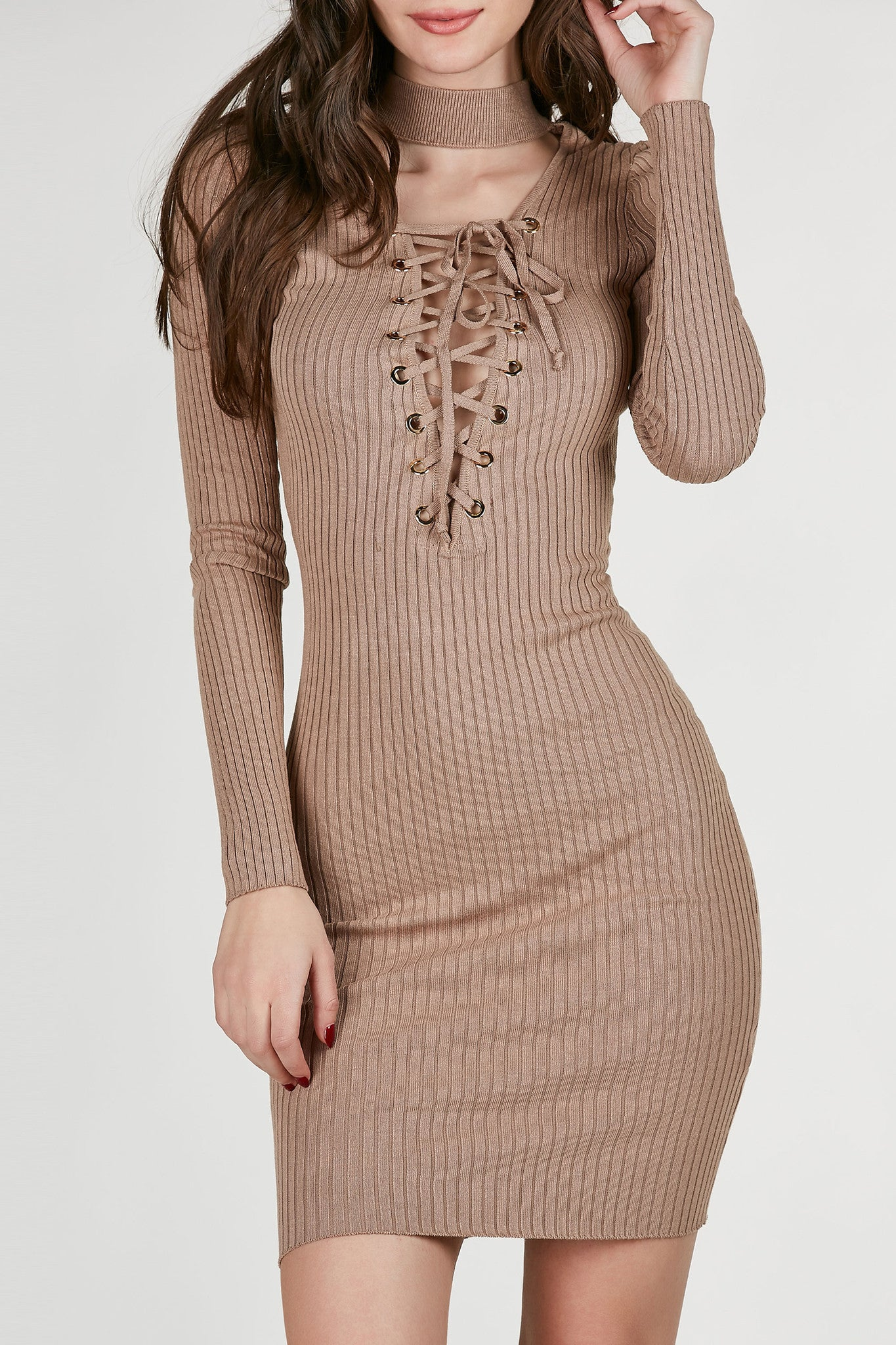 Choker neck ribbed midi dress with plunging cut out with lace up design. Gold hardware eyelet detailing with stretchy, slim fit.