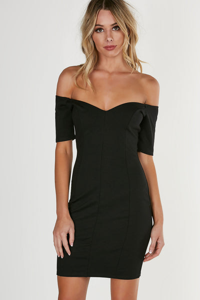 Flattering off shoulder dress with V-shape neckline. Form-fitting with straight hem all around.