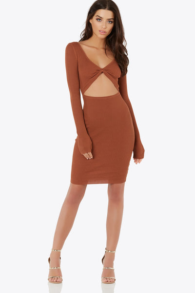 Get dressed up in this long sleeve bodycon midi dress. Features v-neckline and cut-out on bodice.