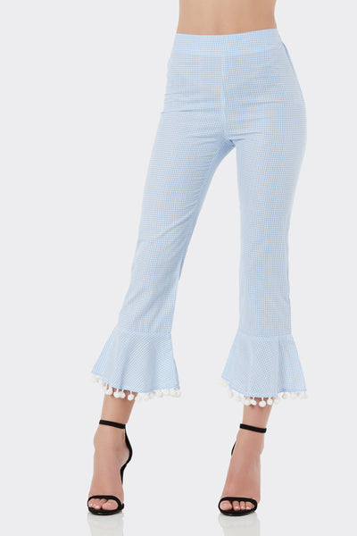 Fun high rise gingham pants with relaxed fit and flared hem finish. Pom-pom trim detailing with elasticized waist.