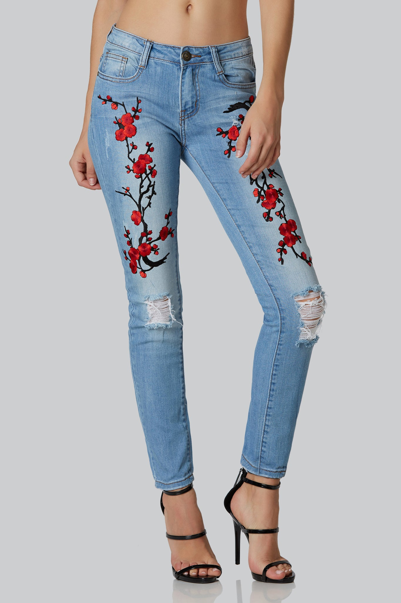 Machine cherry bomb embroidered jeans necessary clothing stylish mid rise jeans with bold cherry blossom embroidery in front faded wash with soft ccuart Gallery