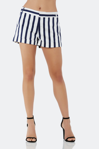 Cuffed shorts with bold stripe patterns throughout. Side pockets with front zip and hook closure.
