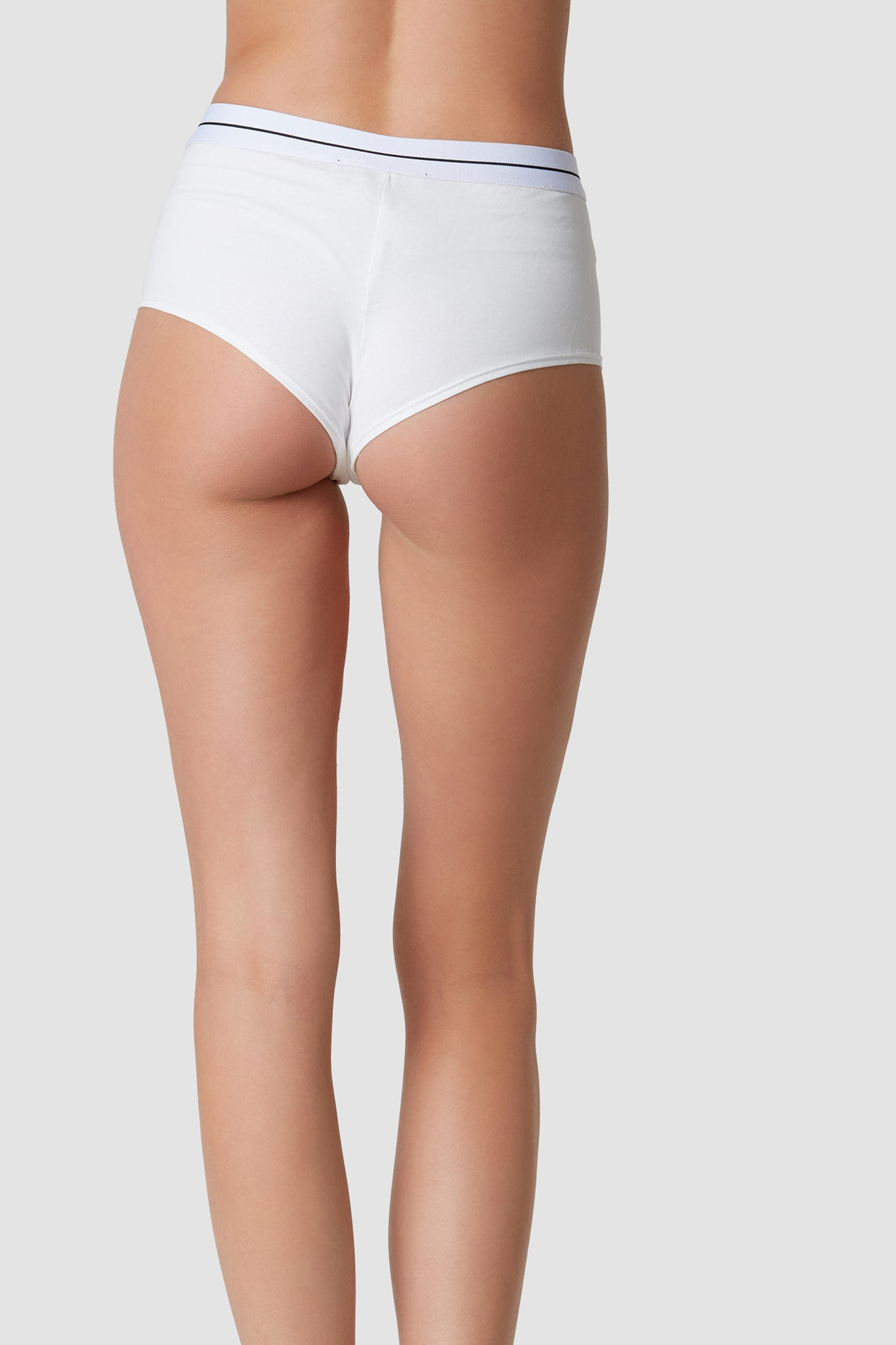 Comfortable stretchy pair of boyfriend briefs with trendy contrast waistband with stripe detailing.