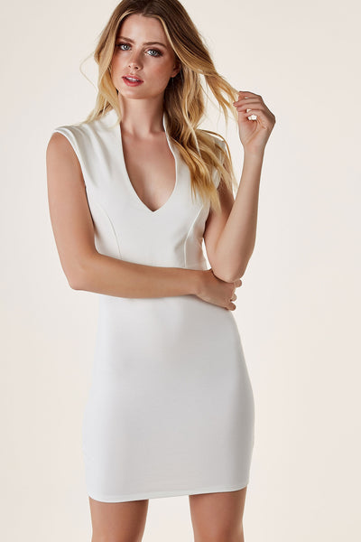 Chic sleeveless mini dress with deep neckline and straight hem finish. Bodycon fit with exposed back zip closure.