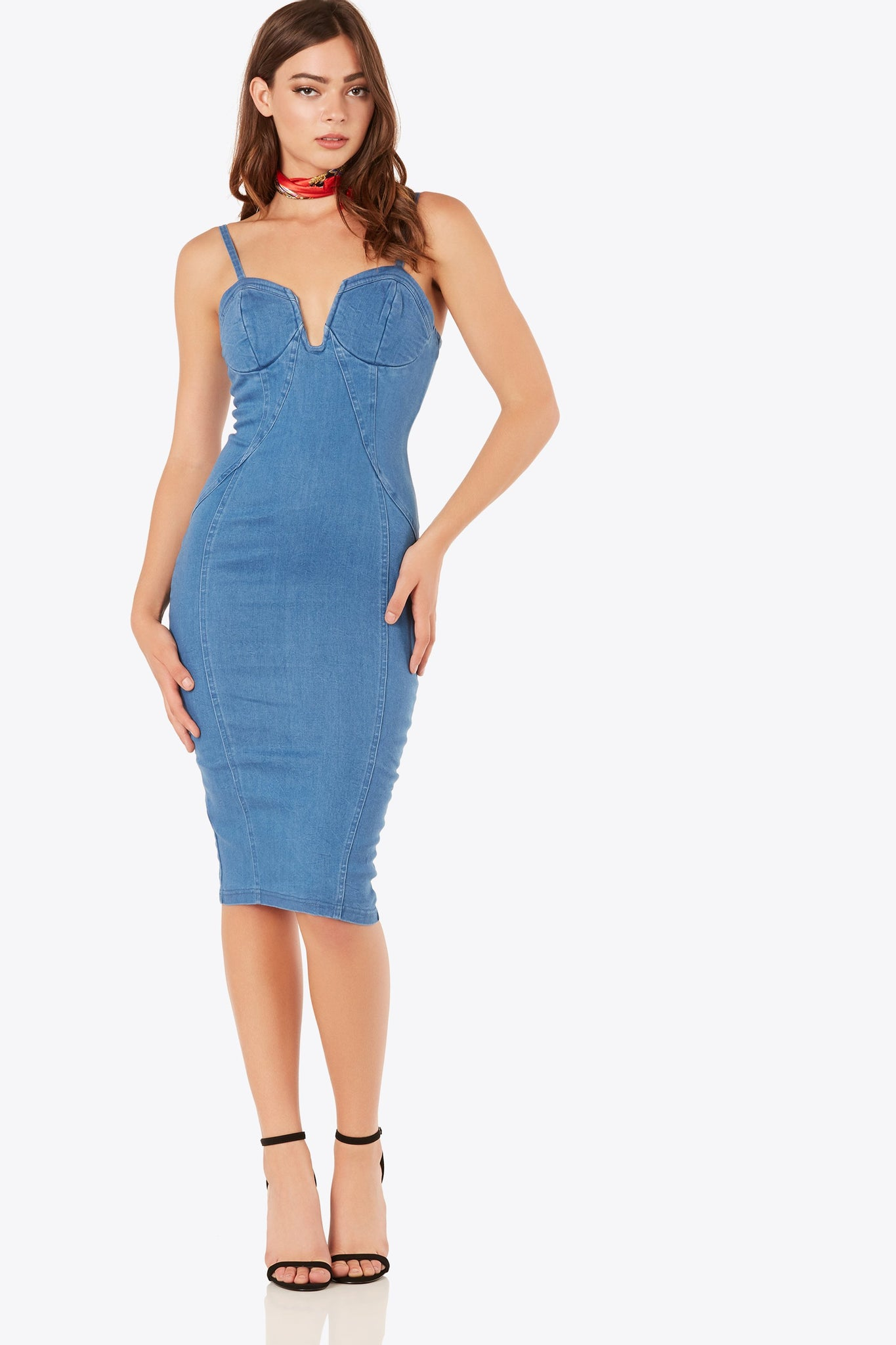 Sleeveless bodycon midi dress with amazing stretch. Slightly padded bust with wired cut out detailing. Back zip closure and straight hem finish.