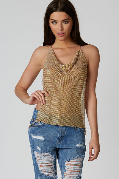 Gold hardware metal body chain halter top with dainty rhinestone detail throughout.