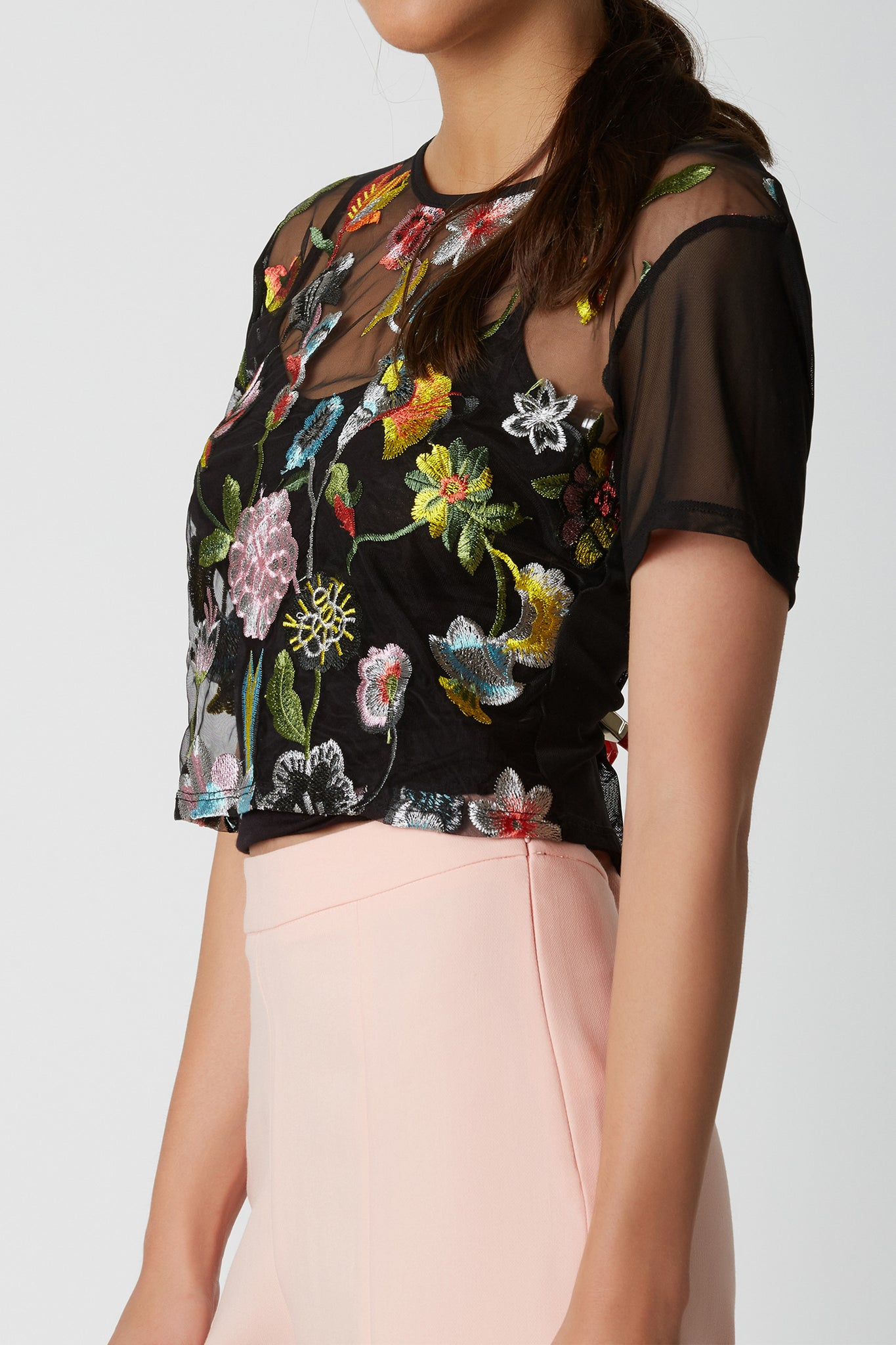 Short sleeve mesh top with oversized fit and colorful embroidery in front. Comes with soft crop top for lining.