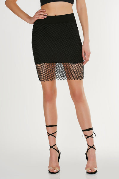 Sexy high waist midi skirt made of trendy fishnet material. Comfortable elasticized waistband and mini skirt lining for coverage.