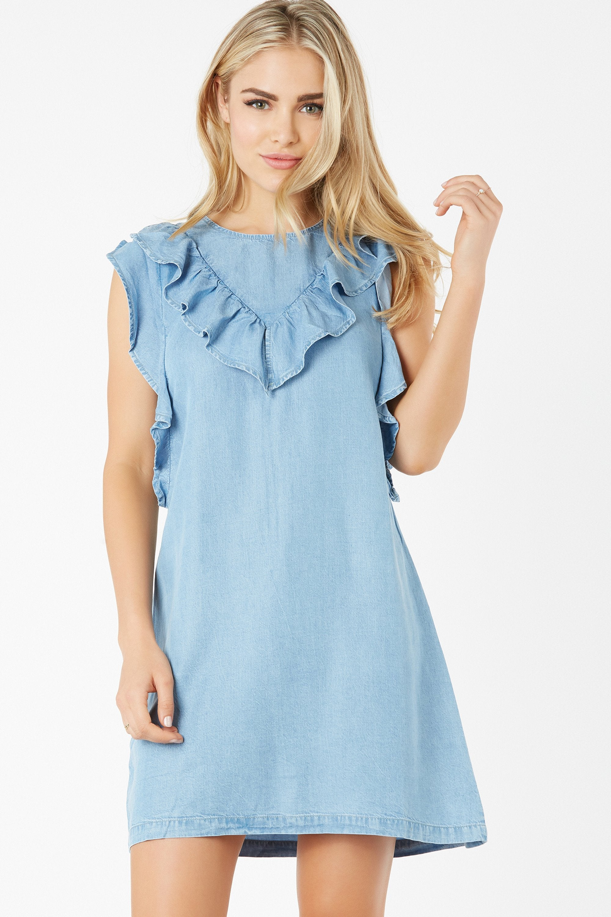 Denim Daze Ruffle Dress