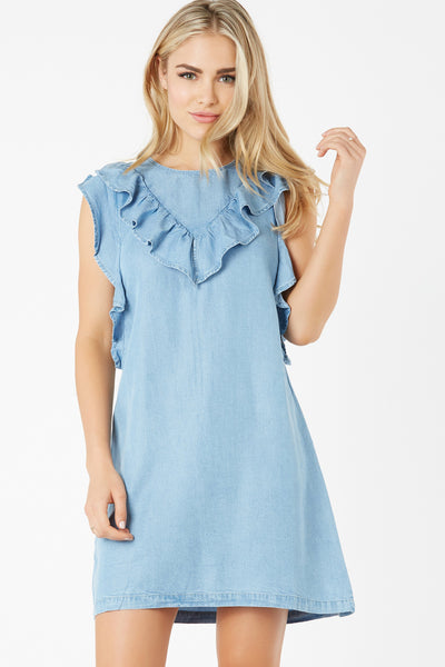 Casual round neck dress made of light chambray material. Flirty ruffle trim detailing with cap sleeves and relaxed fit.