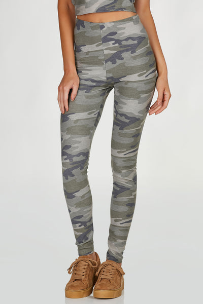 High rise leggings with fun army print throughout. Slim fit with straight hem all around. Comes in a set with matching top sold separately.