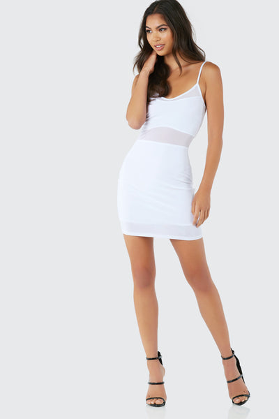 Sexy sleeveless mini dress with bodycon fit. Fully lined with contrast overlay and mes panel detailing.