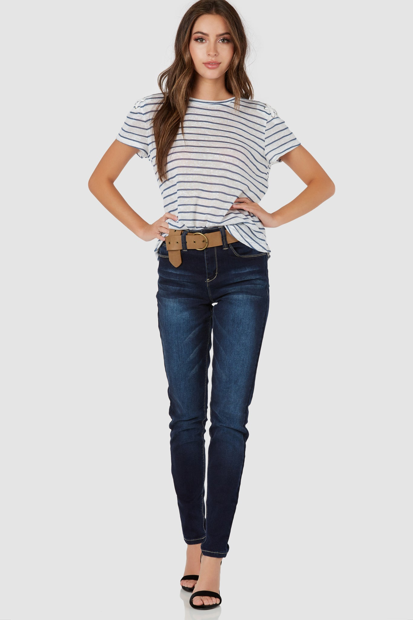 Casual crew neck T-shirt with stripe patterns throughout. Cold shoulder cut out with lace up detailing at shoulders and back.
