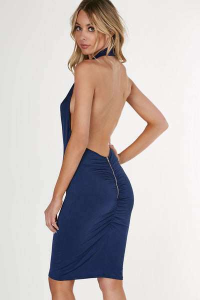 Slinky halter neck dress with smooth, shiny finish. Drapey design in front with open back and exposed zip closure and ruched detailing.