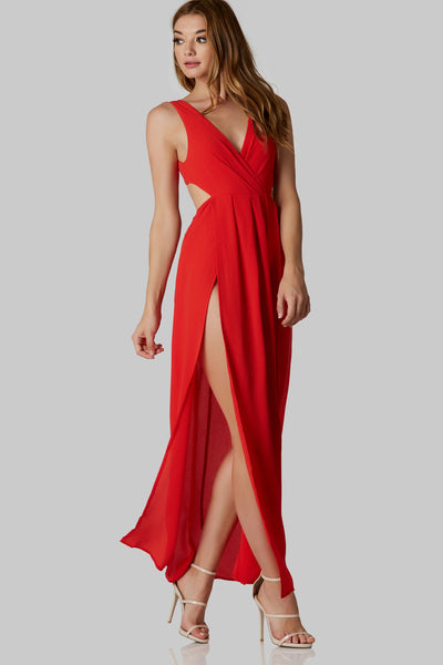 Sexy sleeveless maxi dress with overlap V-neckline. Open back with ties for closure. Lined bodysuit and bold slits in front.