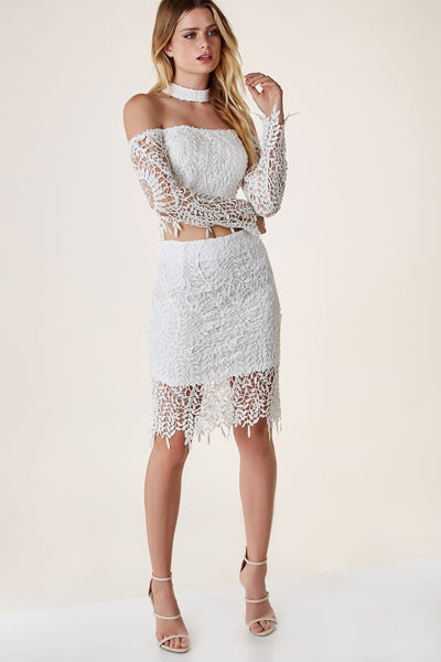 Chic high rise midi skirt with detailed crochet overlay and hidden side zip closure.