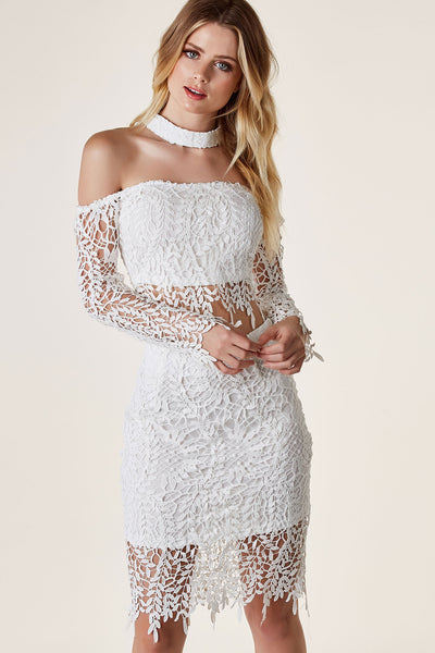 Beautiful off shoulder crop top with chic choker neckline attached from back. Long sleeves with intricate crochet overlay and back zip closure.