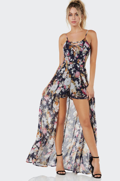 51ff1300ce7 Navy Floral Print Maxi Overlay Playsuit Missguided