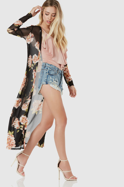 Chic open front mesh cardigan with bold floral print throughout. Fitted long sleeves with straight hem finish.