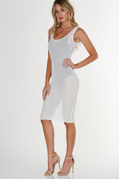 Sleeveless bodycon crochet midi dress. Straight hem all around with stretchy fit.