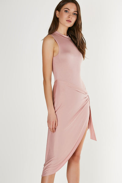 Sleeveless mock neck midi dress with chic asymmetrical wrap design. Lined bodysuit with snap button closure.