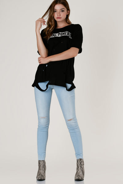 Trendy round neck t-shirt with oversized fit. Distressing throughout with graphic in front and longline hem finish.