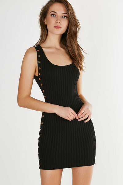 Stretchy bodycon ribbed dress with non-functional gold button embellishments and scoop neckline.
