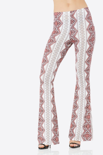 Comfortable bell bottom pants with intricate print throughout. Stretchy material with flattering fit.