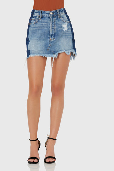 Clasic denim mini skirt with soft distressing and frayed raw hem finish. Two-tone design with button up closure.