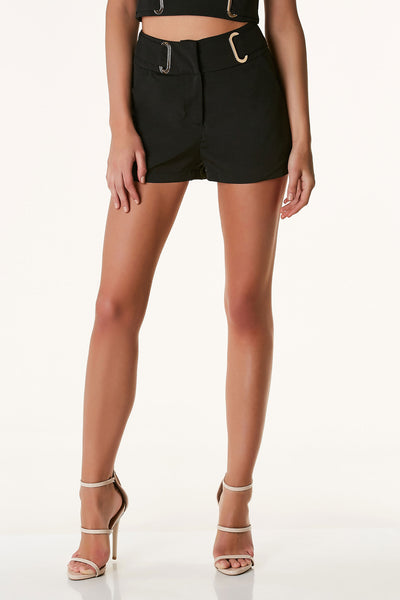Chic mid rise shorts with belted design and gold hardware detailing. Side pockets with front zip and hooks for closure.