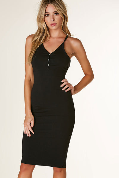 Basic henley style sleeveless midi dress with comfy racerback finish. Stretchy material with straight hem all around.
