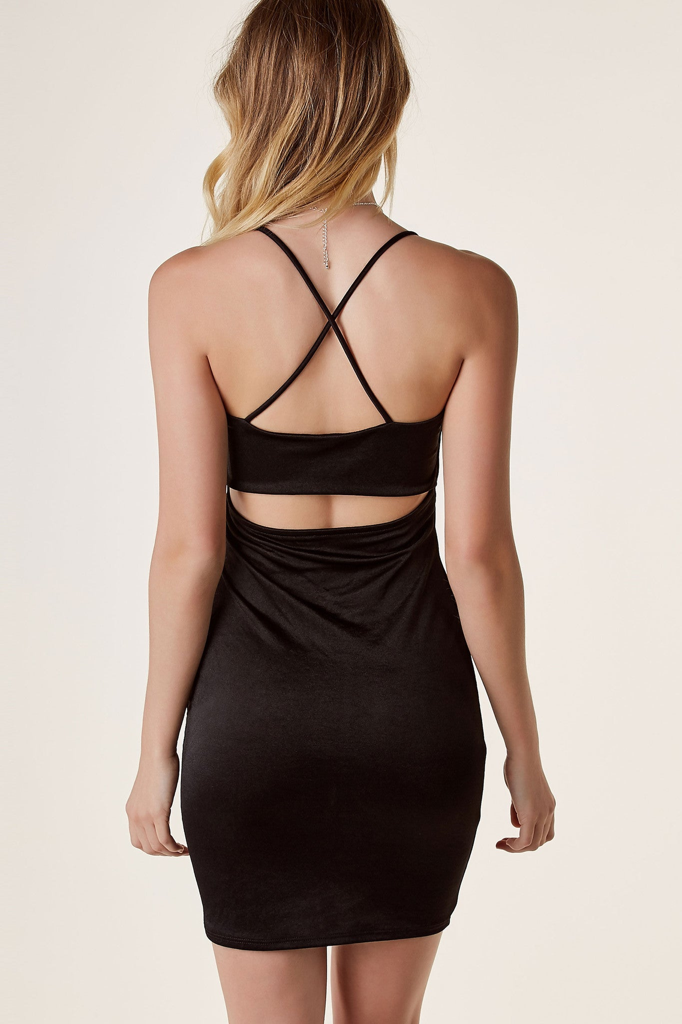 Sexy spaghetti strap bodycon dress with flattering straight neckline. Smooth slinky material with cut out back and criss-cross strap finish.