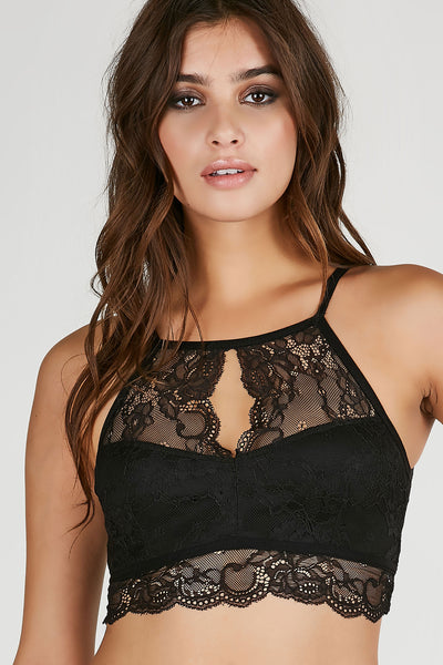 High neck lace bodysuit with halter style cut. Stretchy material with cut out in back.