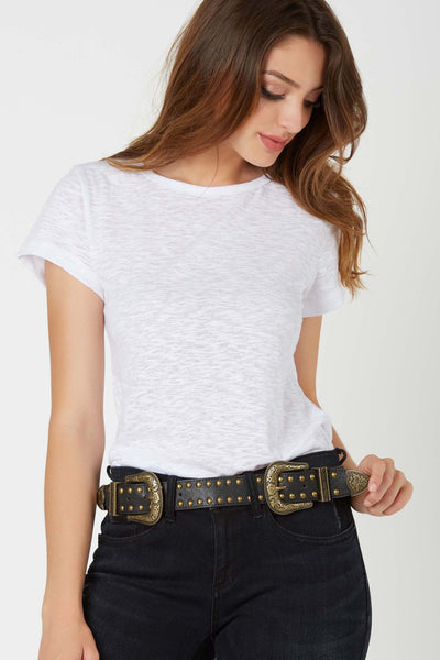 Stylish faux leather belt with double buckle design and stud detailing throughout.