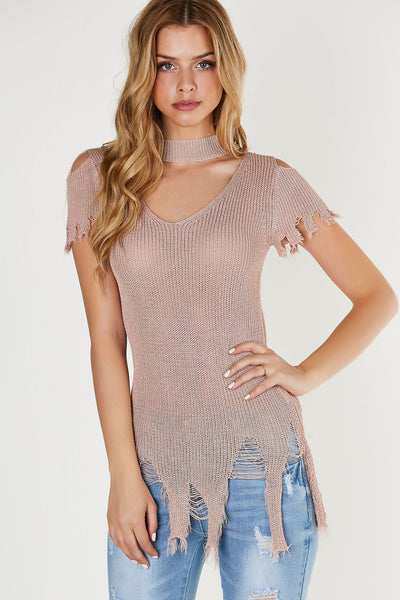 Choker neck short sleeve top with cut out detailing and heavy distressing at hem. Knitted material with relaxed, longline fit.