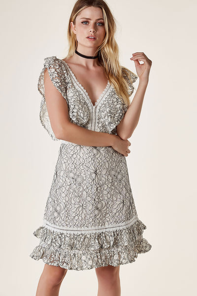 Chic V-neck midi dress with ruffled cap sleeves and intricate crochet detailing. Fully lined with lace exterior.