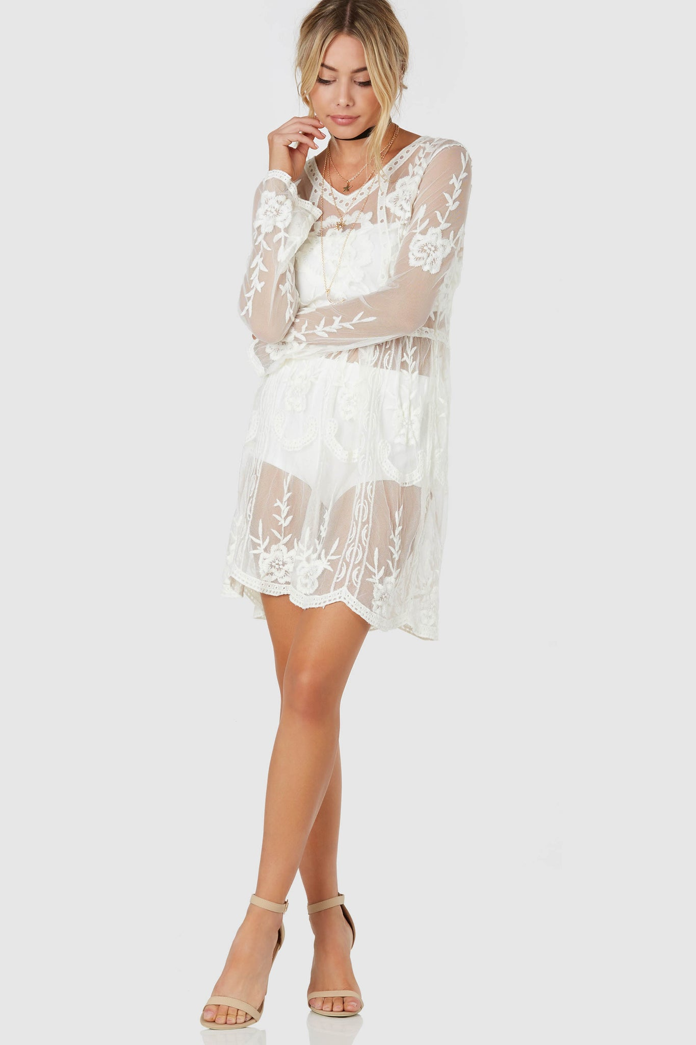Stunning long sleeve tunic dress with mesh base and intricate crochet detailing throughout. Comes with tube top and bottoms for lining.