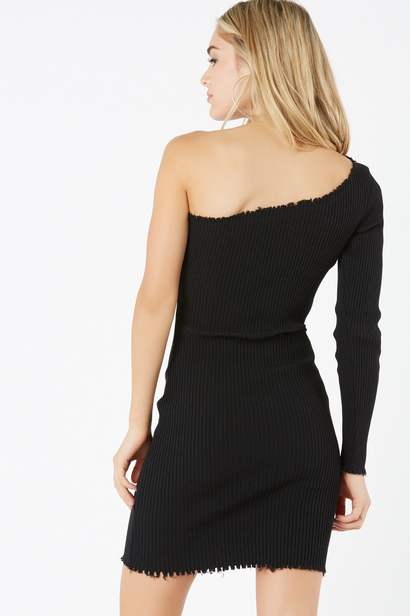 Sexy one shoulder bodycon dress with trendy raw hem detailing all around. Thick ribbed material for comfortable stretch and flattering fit.