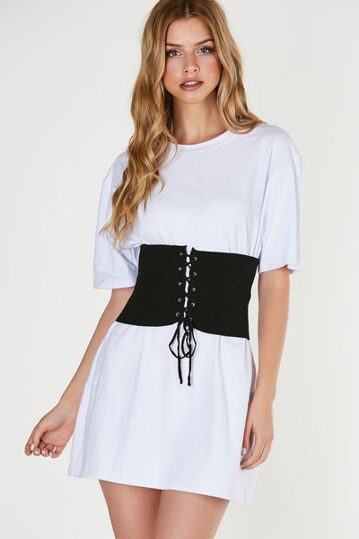 Classic waist belt, ribbed throughout for comfort and stretch. Center cut out with lace up closure.